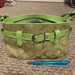 Coach wristlet lime green